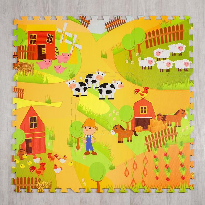 Развивающий коврик-пазл «Ферма» 30х30х1 см, в наборе 9 шт.