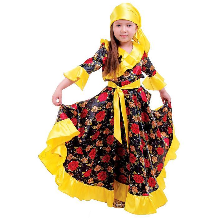 Карнавальный цыганский костюм для девочки, жёлтый с оборкой по груди, р. 32, рост 122 см