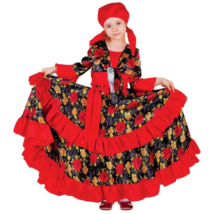 Карнавальный цыганский костюм для девочки, красный с двойной оборкой по юбке, р. 28, рост 110 см