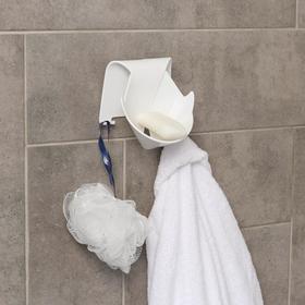 Держатель для ванных принадлежностей на липучке «Кит», 12×9,5× 13 см, цвет МИКС Ош
