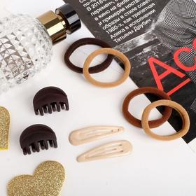 """Набор для волос """"Новия"""" (2 невидимки 5 см, 4 резинки, 2 краба 3 см) коричневые оттенки"""