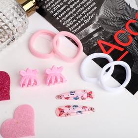 "Набор для волос ""Новия"" (2 невидимки 5 см, 4 резинки, 2 краба 2,5 см) бабочки, розовый"