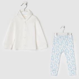 Комплект Нежность (штаны,кофта), цвет белый/голубой, рост  80 см