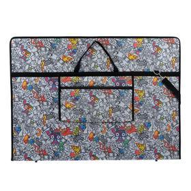 """Папка А1 с ручками, текстиль, 920 х 680 х 40 мм """"Вдохновение"""", с карманом """"Граффити"""""""