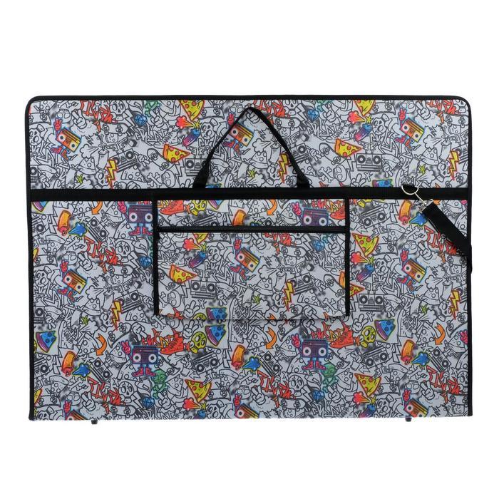 """Папка А1 с ручками, текстиль, 920 х 680 х 40 мм """"Вдохновение"""", с карманом """"Граффити"""" - фото 749852"""