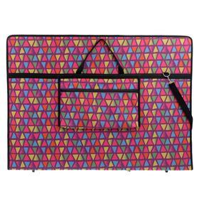 Папка А1 с ручками, текстиль, 920 х 680 х 40 мм «Вдохновение», с карманом, «Треугольники»