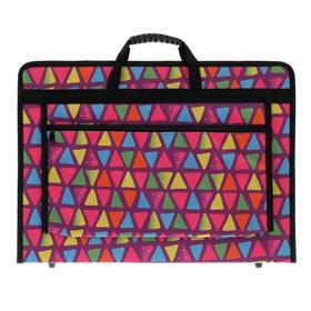 Папка А3 с ручками каркасная, текстиль, 40 мм, 420 х 300 мм, «Вдохновение», с внешним карманом, «Треугольники»