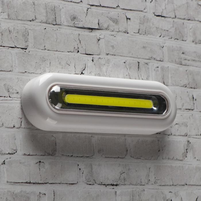 Фонарь-светильник COB, 3 ААА, 3 Вт, 160 лм, на клейкой ленте, 4.4х2.8х13.8 см - фото 7644655