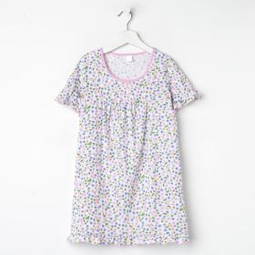 Сорочка для девочки, цвет светло-розовый, принт цветы, рост 122 см (7 лет)