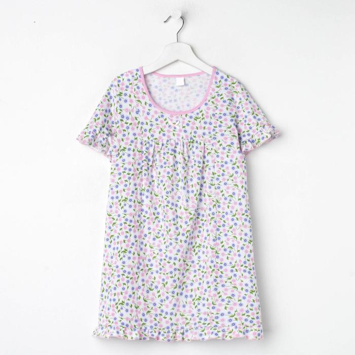 Сорочка для девочки, цвет светло-розовый, принт цветы, рост 140 см (10 лет) - фото 76427518