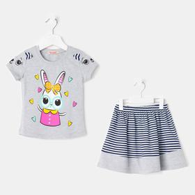 Комплект для девочек (футболка, юбка) меланж, рост 92 см (2г)