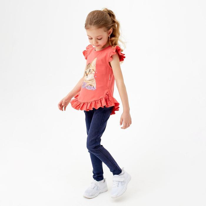 Футболка детская, цвет коралл, рост 122 см (7 лет) - фото 76428474