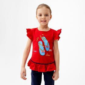 Футболка для девочки, цвет красный, рост 104 см (4 года)