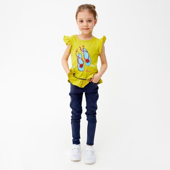 Футболка для девочки, цвет оливковый, рост 92 см (2 года) - фото 2025971