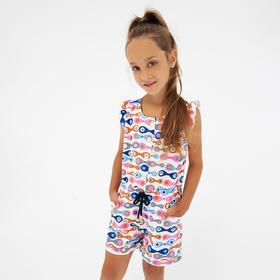 Полукомбинезон для девочки, цвет синий, рост 110 см (5 лет)
