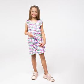 Полукомбинезон для девочки, цвет фиолетовый, рост 110 см (5 лет)
