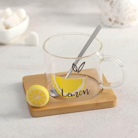 Mug with wooden stand and spoon Lemon 300 ml, MIX