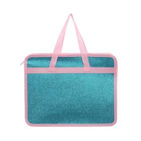 Папка с блестками, цвет голубой