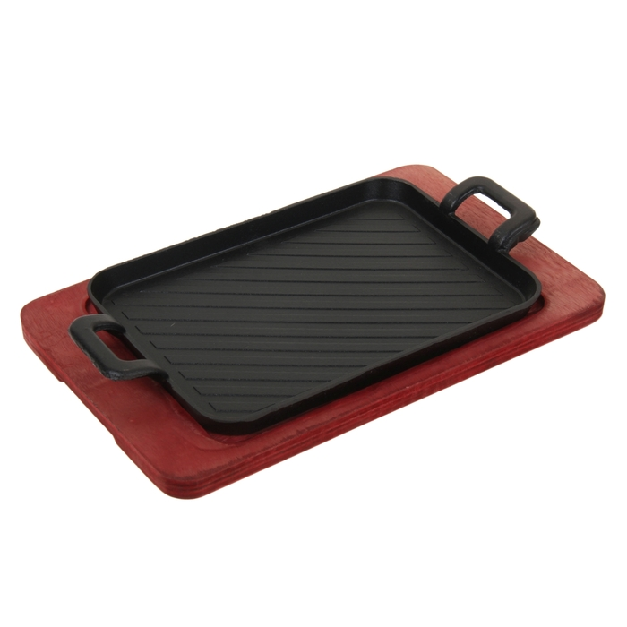 """Сковорода на деревянной подставке """"Прямоугольник. Гриль"""" 30х17 см"""