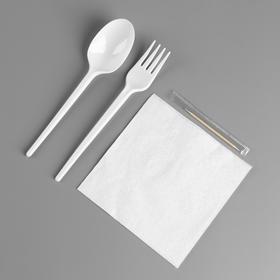 Набор одноразовой посуды «Вилка, ложка, салф.бум., зубочистка»