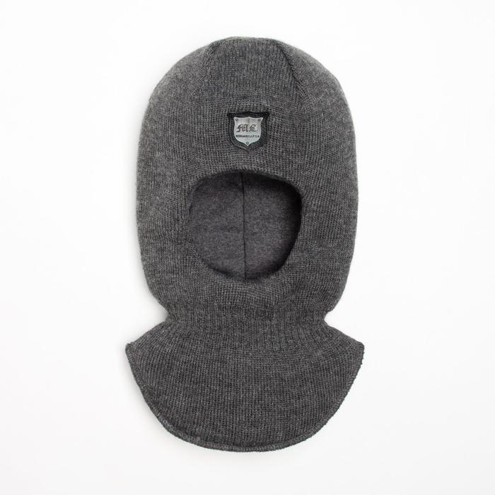 Шлем-капор для мальчика, цвет графитовый, размер 48-50 - фото 76427284