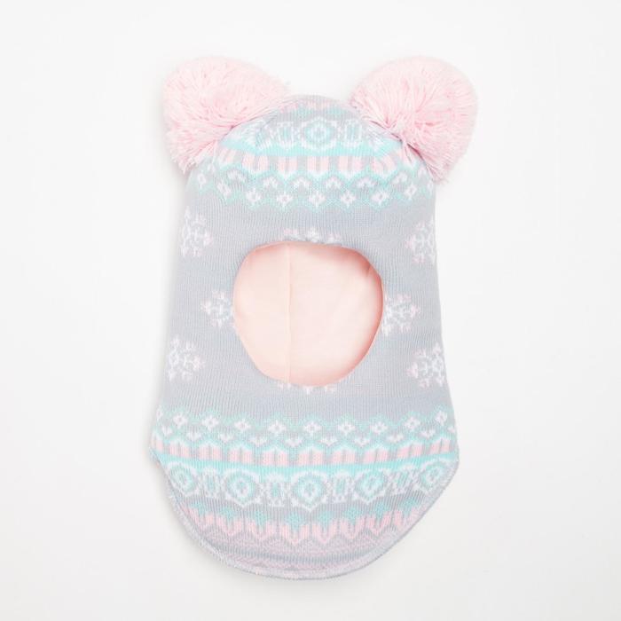 Шлем-капор детский, цвет серо-розовый, размер 46-48 - фото 105566835