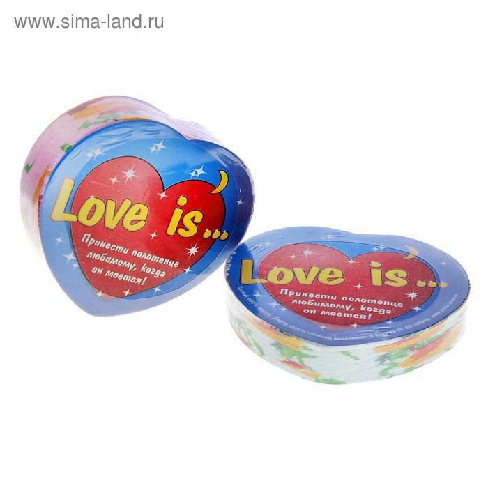 """Полотенце прессованное """"Сердце Love is"""", размер 26х50 см (изображение только на этикетке)"""