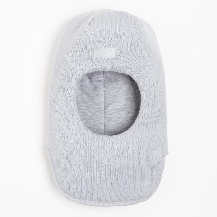 Шлем-капор для мальчика, цвет серый, размер 52-54 - фото 76427385