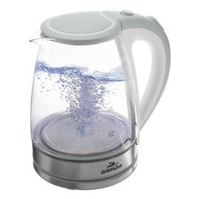 """Чайник электрический """"Добрыня"""" DO-1239W, стекло, 1.8 л, 1800 Вт, белый"""