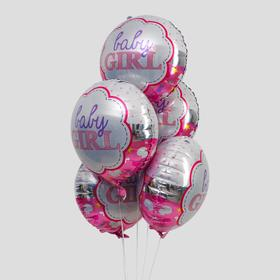 """Foil balloon 23"""" """"when the baby comes"""", set of 5 PCs color pink"""