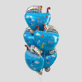 """Шар фольгированный 26"""" «Коляска малыша», набор 5 шт., цвет голубой"""