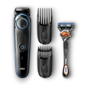 Триммер Braun BT5040, для бороды и усов, 2 насадки, от аккум., +бритва Gillette, чёрно-синий   50594