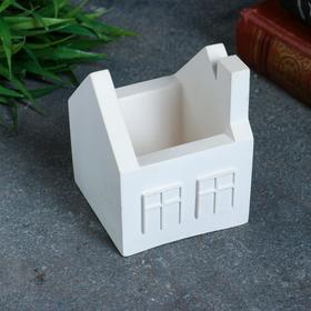 Кашпо домик белое, 7 х 7 х 8,5 см