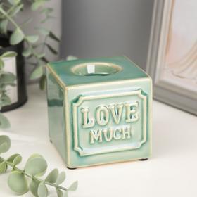 """Подсвечник керамика на 1 свечу """"Люблю сильно"""" 8х8,2х8,3 см"""