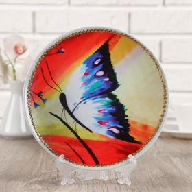"""Plate decorative """"Butterfly""""print on canvas, D = 20 cm"""