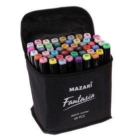 Набор двухсторонних маркеров для скетчинга Mazari Fantasia, 48 цветов, текстильный чехол