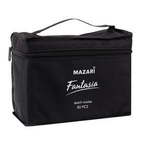 Набор двухсторонних маркеров для скетчинга Mazari Fantasia, 80 цветов, текстильный чехол