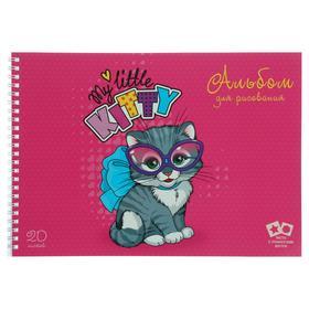 """Альбом для рисования А4, 20 листов на гребне """"Маленький котенок"""", обложка мелованный картон, выборочный лак, 2 листа-трафарета"""