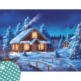 "Diamond embroidery ""Christmas party"" 30*40 cm, canvas, tweezers, capacity"