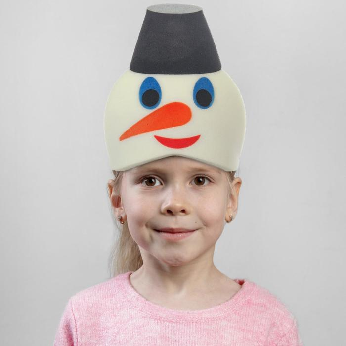 Карнавальная маска Снеговик  на резинке,поролон