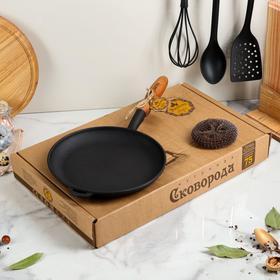 """Сковорода чугунная """"Блинница"""", 240 х 25 мм, с деревянной ручкой, премиум набор"""