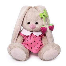 Мягкая игрушка «Зайка Ми в розовом платье с клубничкой», 15 см