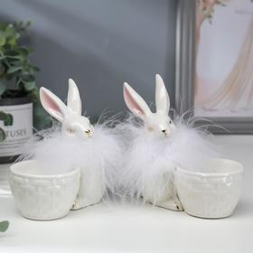 "Сувенир керамика подставка ""Белый кролик с корзинкой"" МИКС 10,7х6,2х11,5 см"