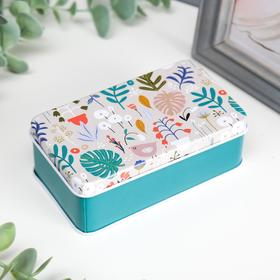 "Box metal rectangular ""Floral meadow"" MIX 4х11,5x6,5 cm"