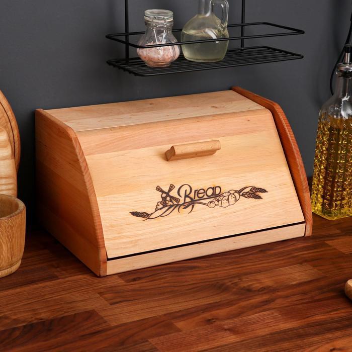 Хлебница деревянная, с доской для нарезки, 38 х 24 см - фото 494249