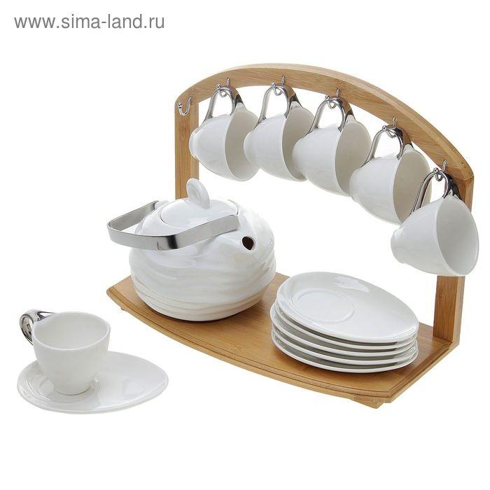 """Кофейный сервиз """"Мечта"""" 13 предметов: кружки 6 шт 100 мл, тарелки 6 шт, чайник 600 мл"""