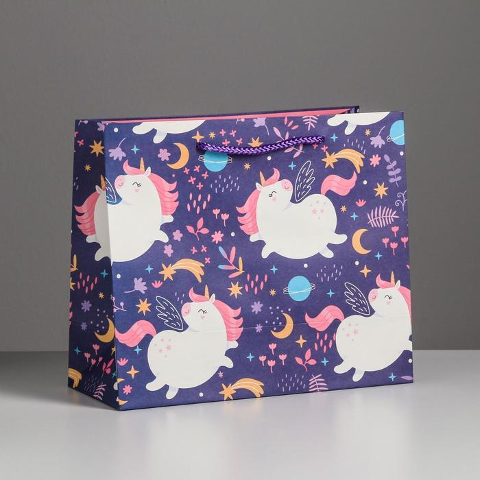 Пакет подарочный Unicorn, 27 х 23 х 11,5 см