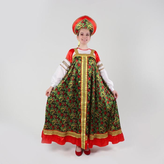 Русский костюм женский «Рябиновые гроздья» платье, кокошник, р-р 44, рост 170