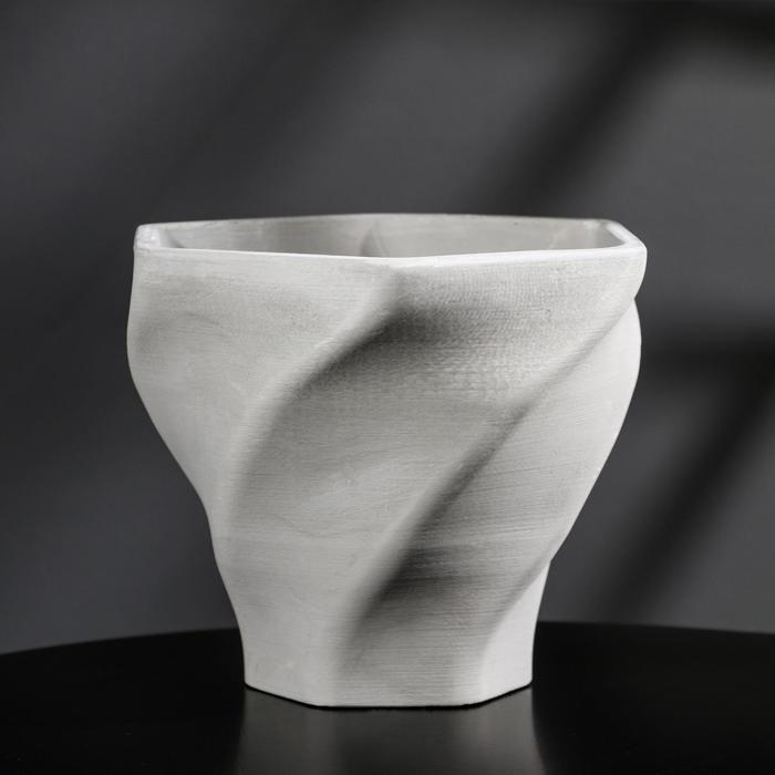 Кашпо винтовое из гипса «Феерия», цвет серый, 15 × 14 см