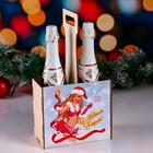 """Box for champagne """"happy New Year!"""" snow maiden with champagne"""